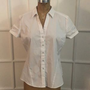 EUC NY&Co short sleeve white button down top Large